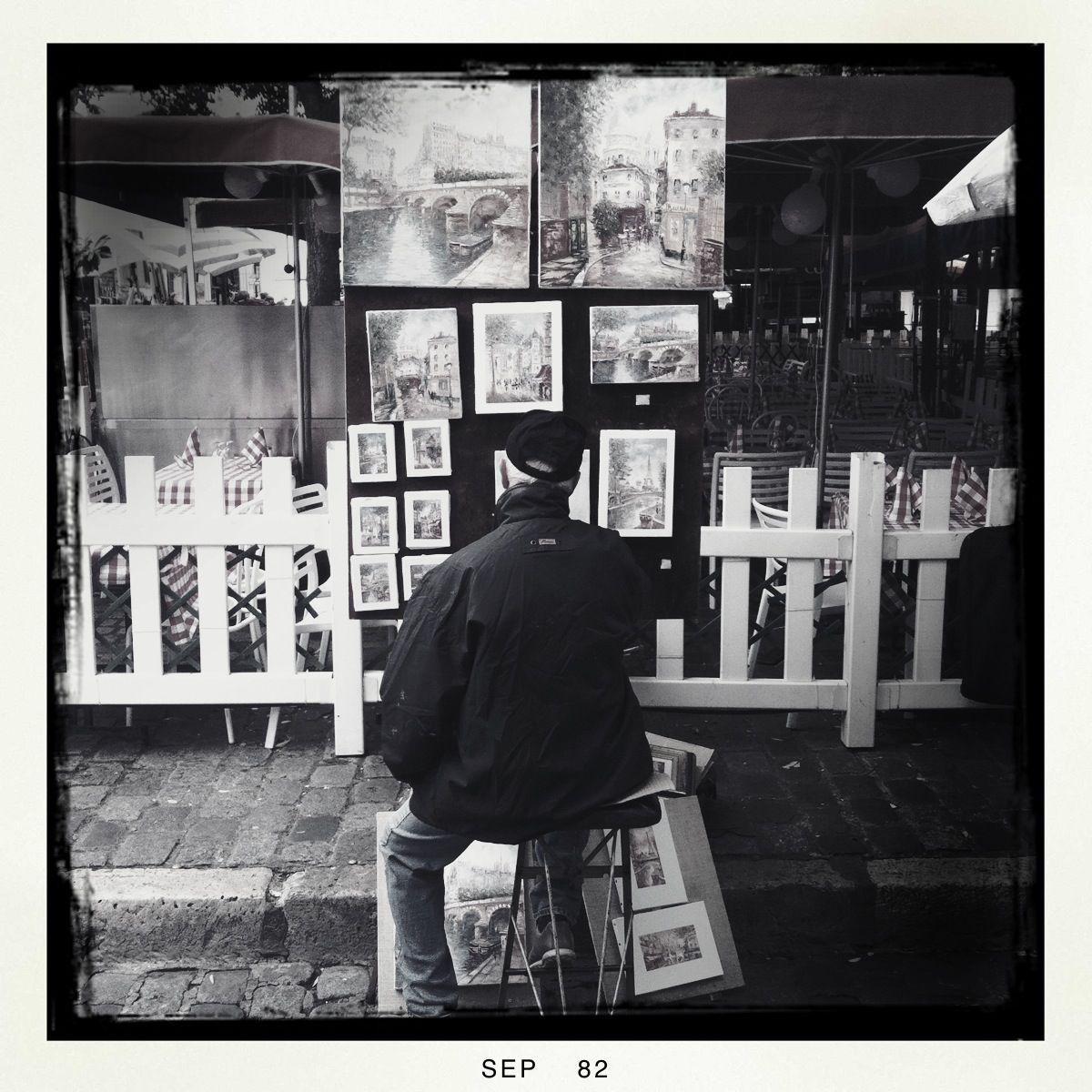 Immer bei der Arbeit: Die Maler auf dem Montmartre. Beklagenswert: Die Baskenmütze ist der Baseballmütze gewichen.