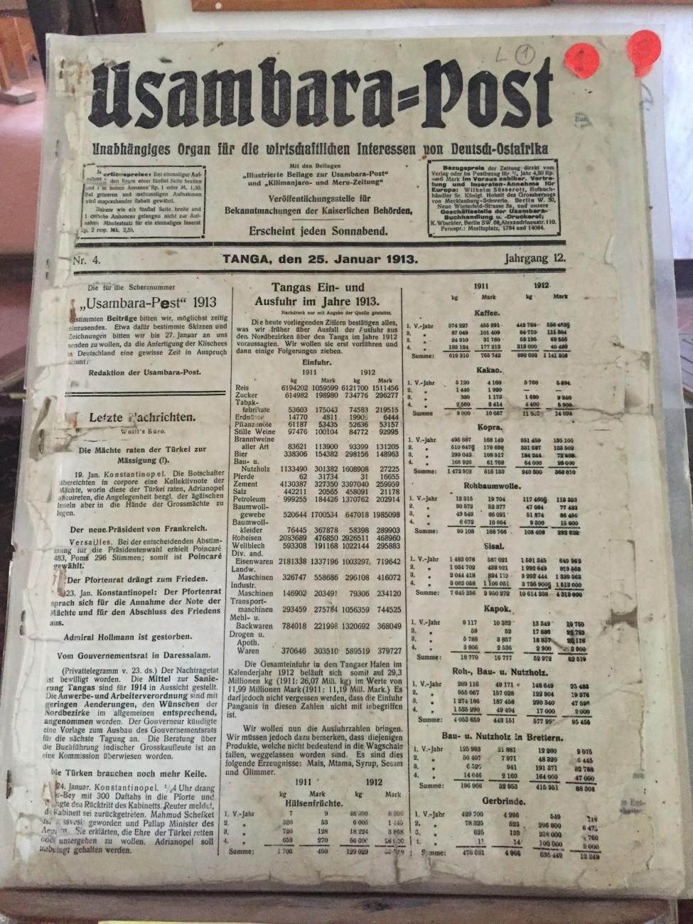 Das Wall Street von vor 100 Jahren: Die »Usambara Post« listet die Rohstoffpreise auf