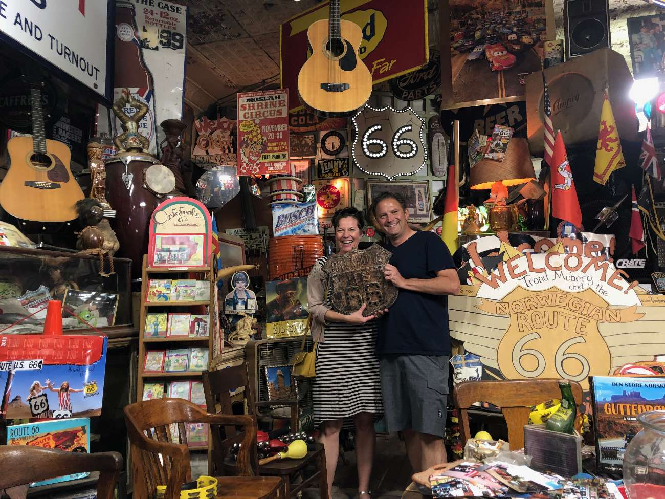 Autor Ralf Johnen im Sandhill Curiosity Shop Route 66 in Erick, OK