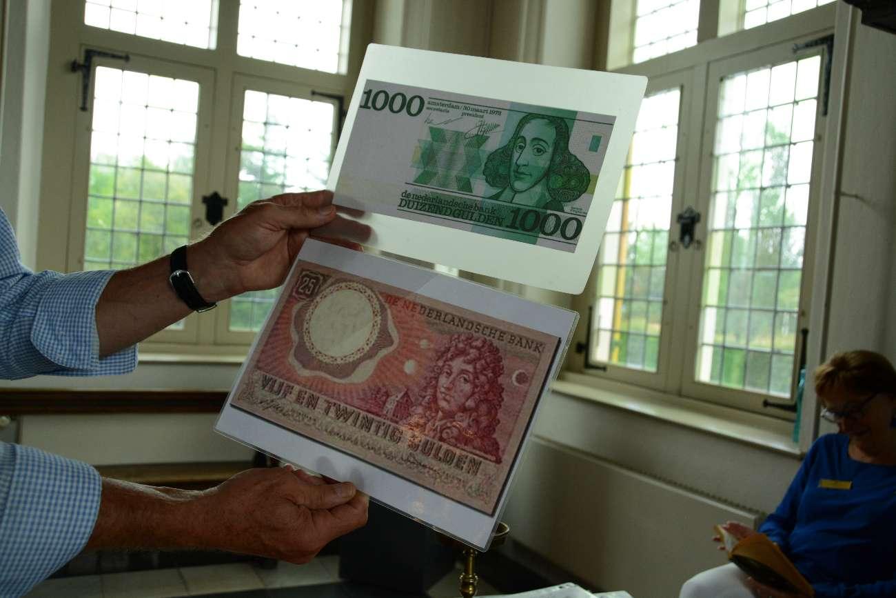 Christiaan Huygens auf Geldscheinen der Niederlande in Huygens Hofwijck
