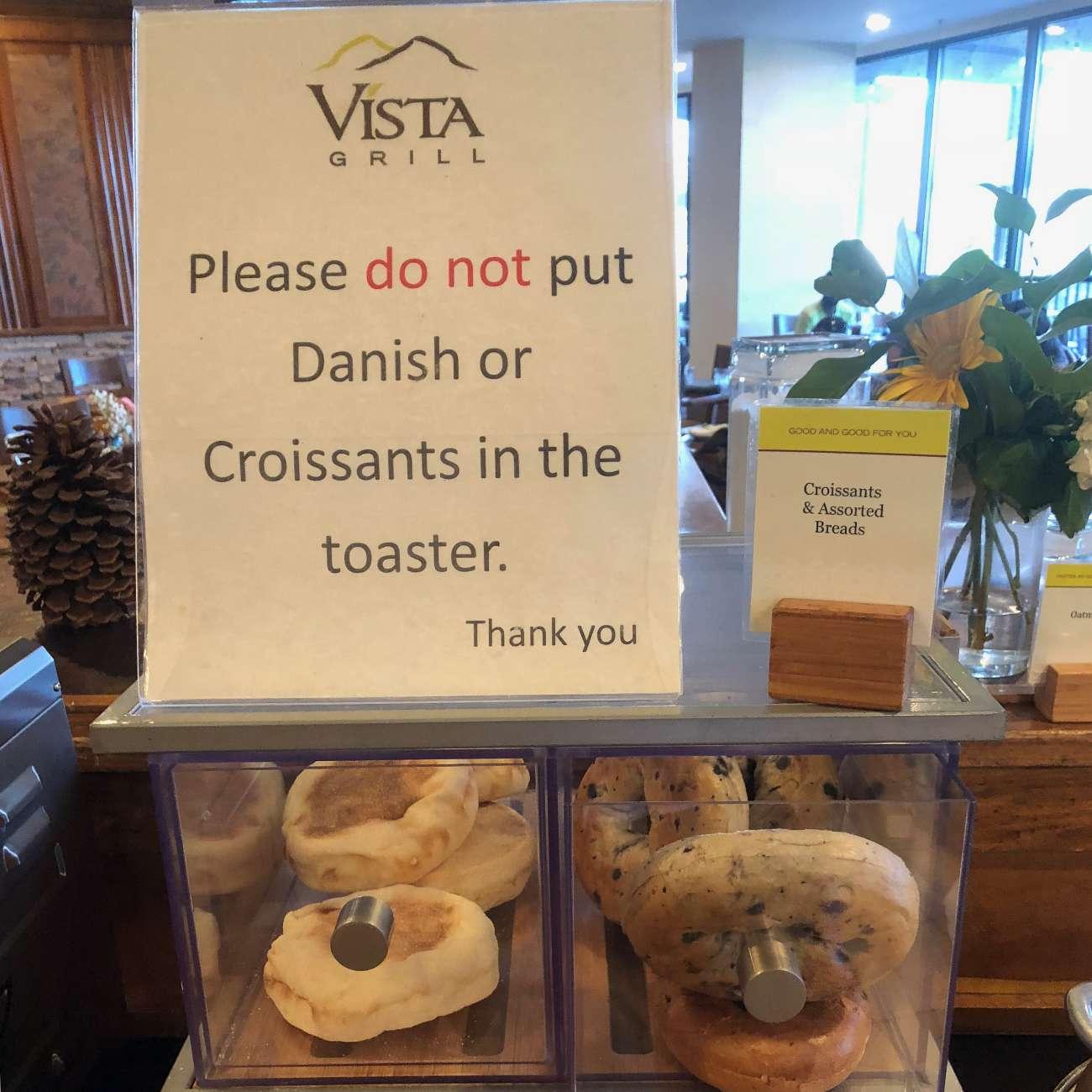Bitte keine Puddingteilchen in den Toaster tun - Warnschild in Tennessee