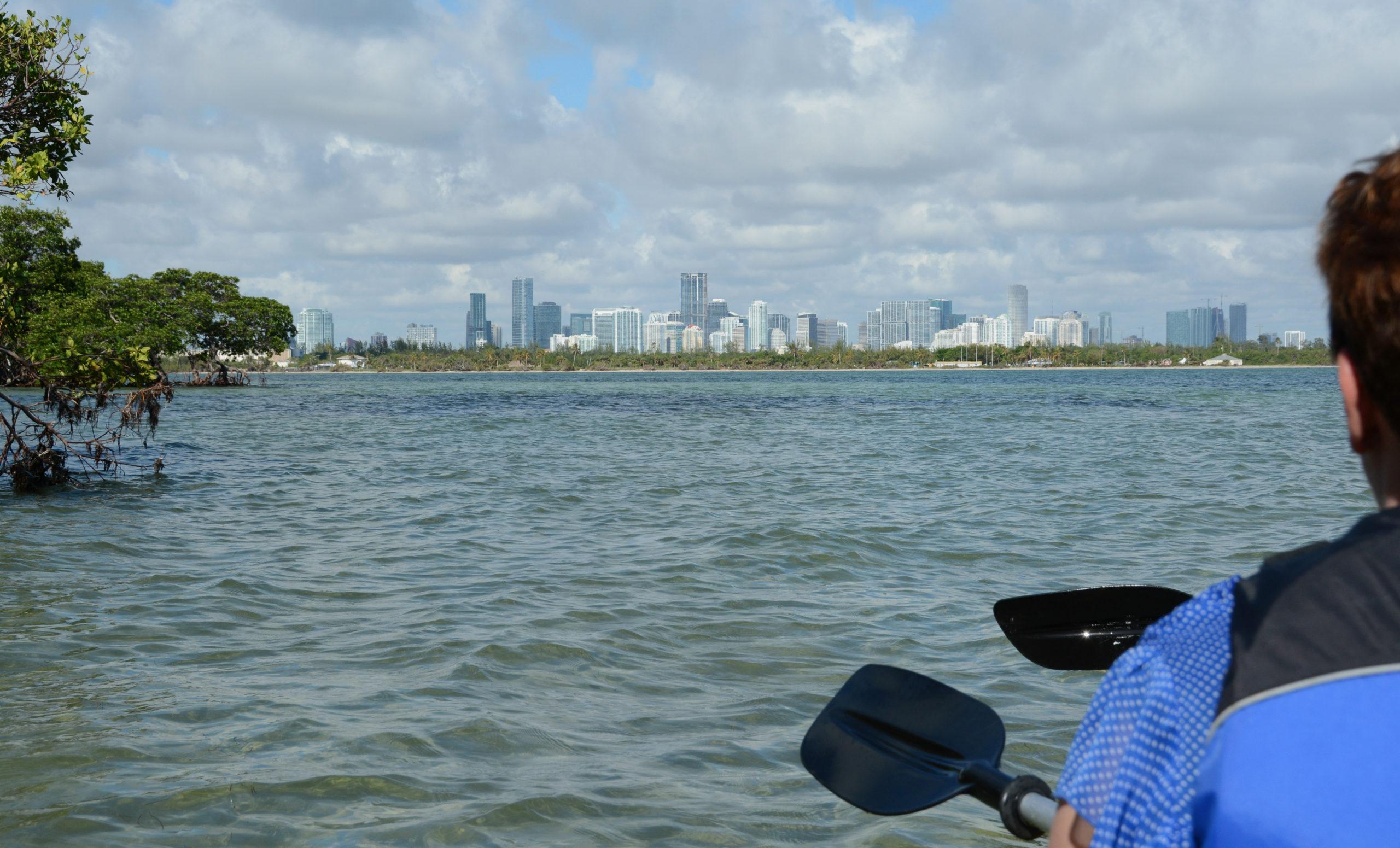 Paddeln in Miami mit Blick auf die Skyline