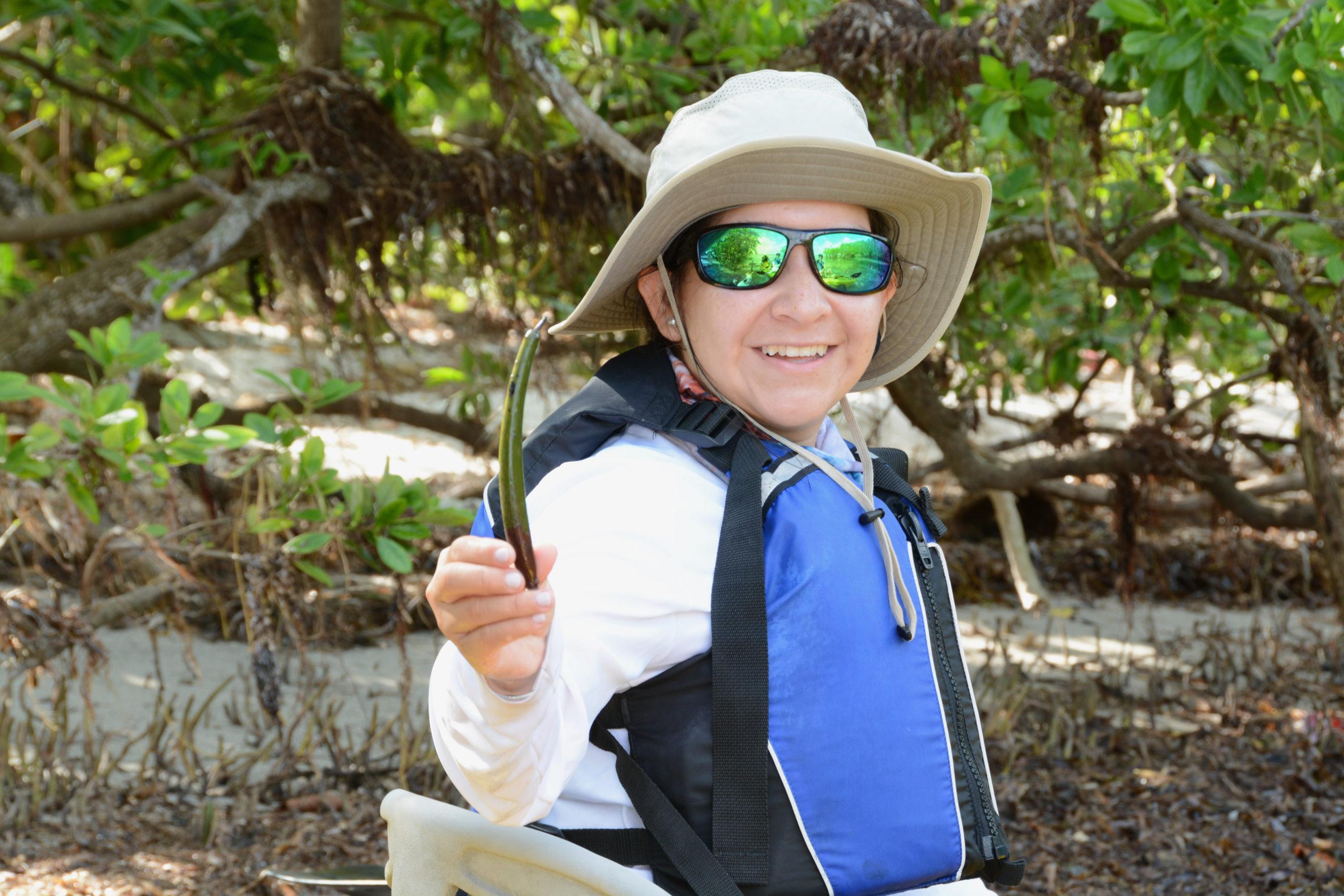 Eine Naturführerin zeigt die Frucht einer Mangrove in Südflorida