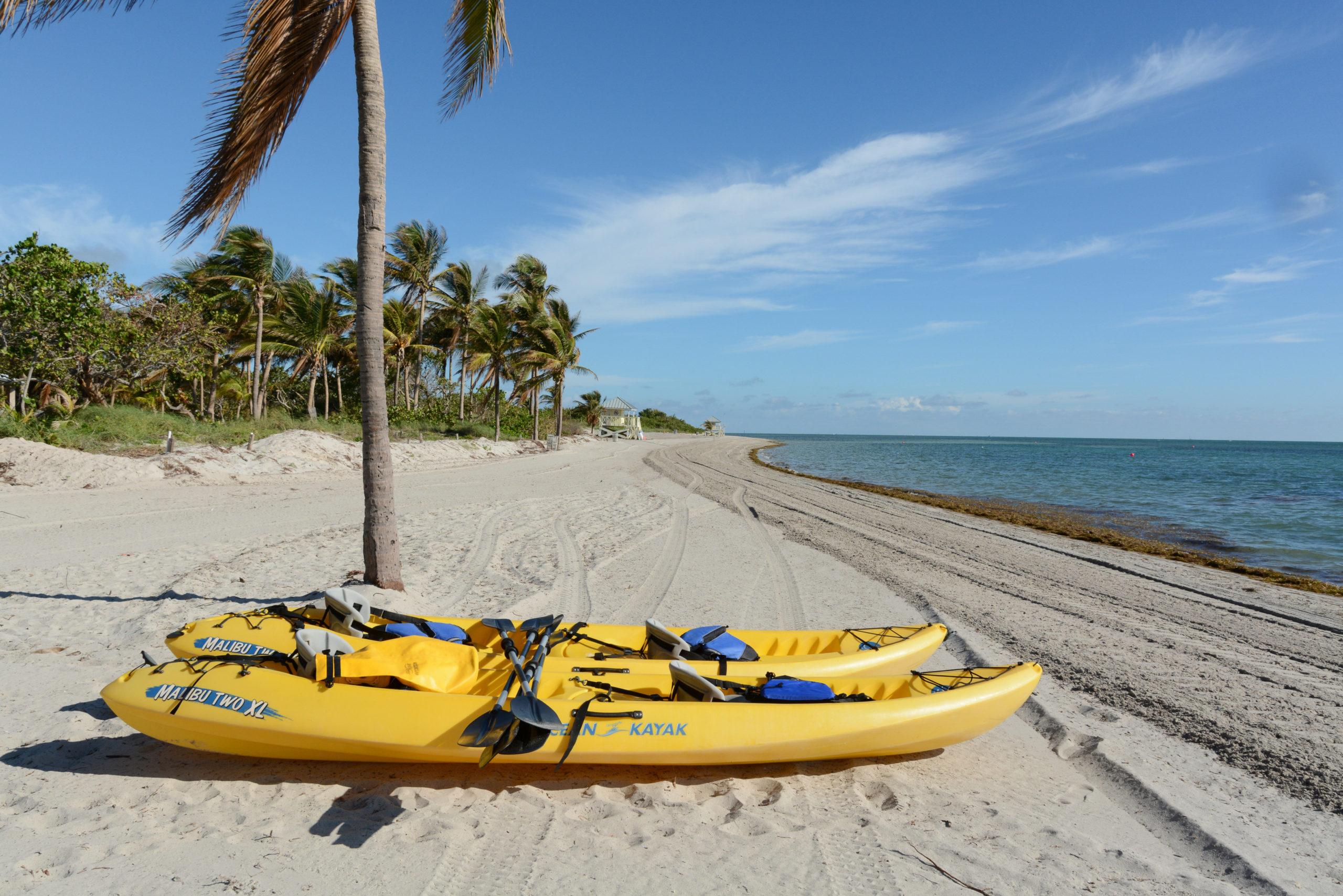Zwei Kanus unter Palmen am Strand von Key Biscayne in Florida