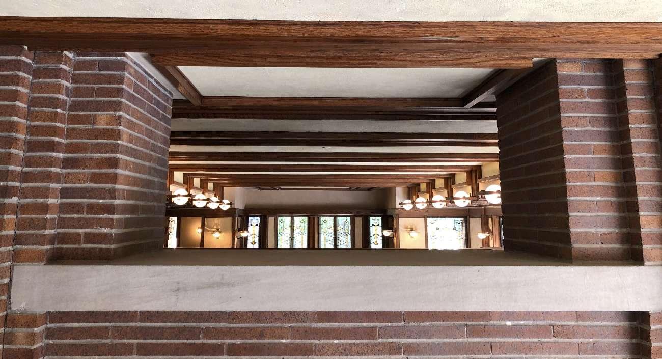 Durchbruch im Innenraum in Frank Lloyd Wrights Robie House