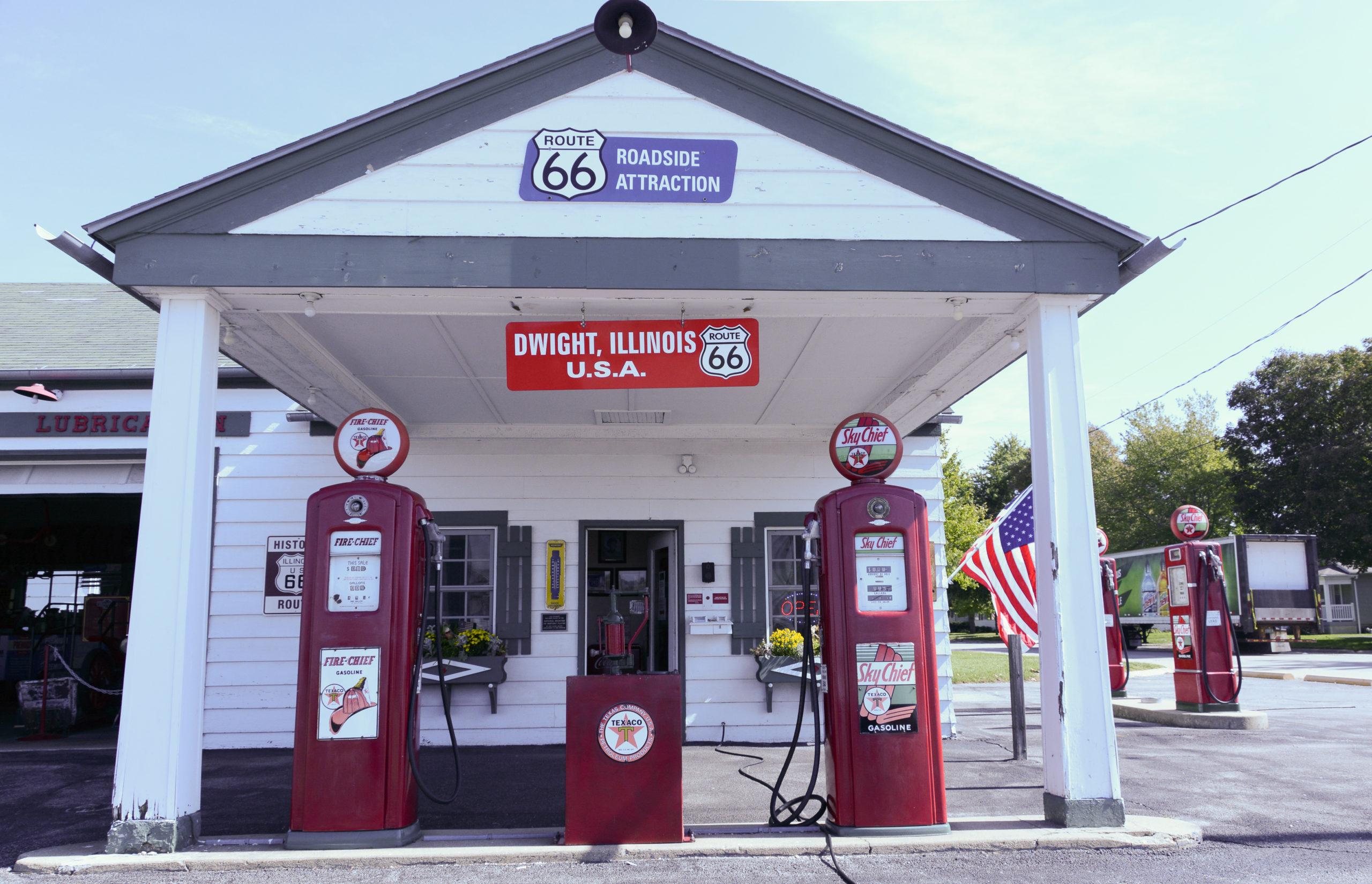 Die Texaco gas station in Dwight, Illinois, ist eine Ikone der Route 66