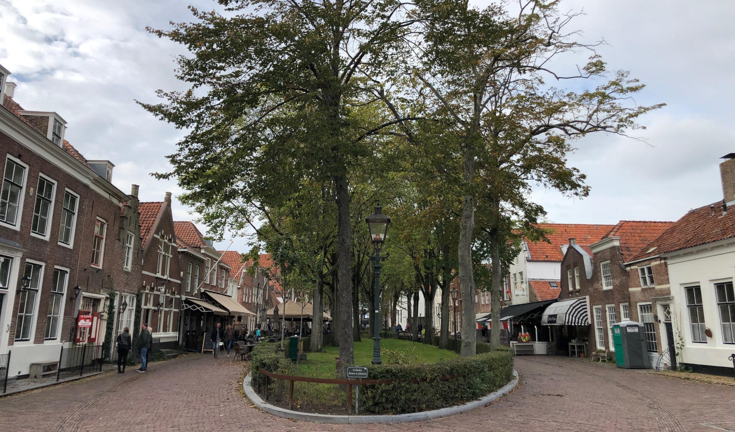 Stadtbild von Veere in der Provinz Zeeland mit alten Häuschen und Bäumen
