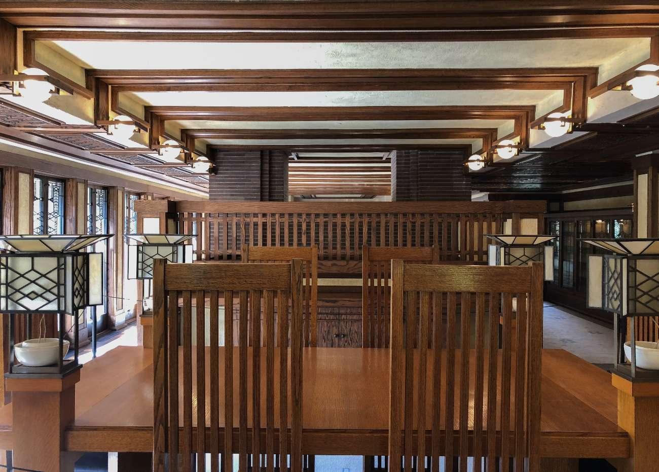 Innenansicht des Robie House von Frank Lloyd Wright in Chciago