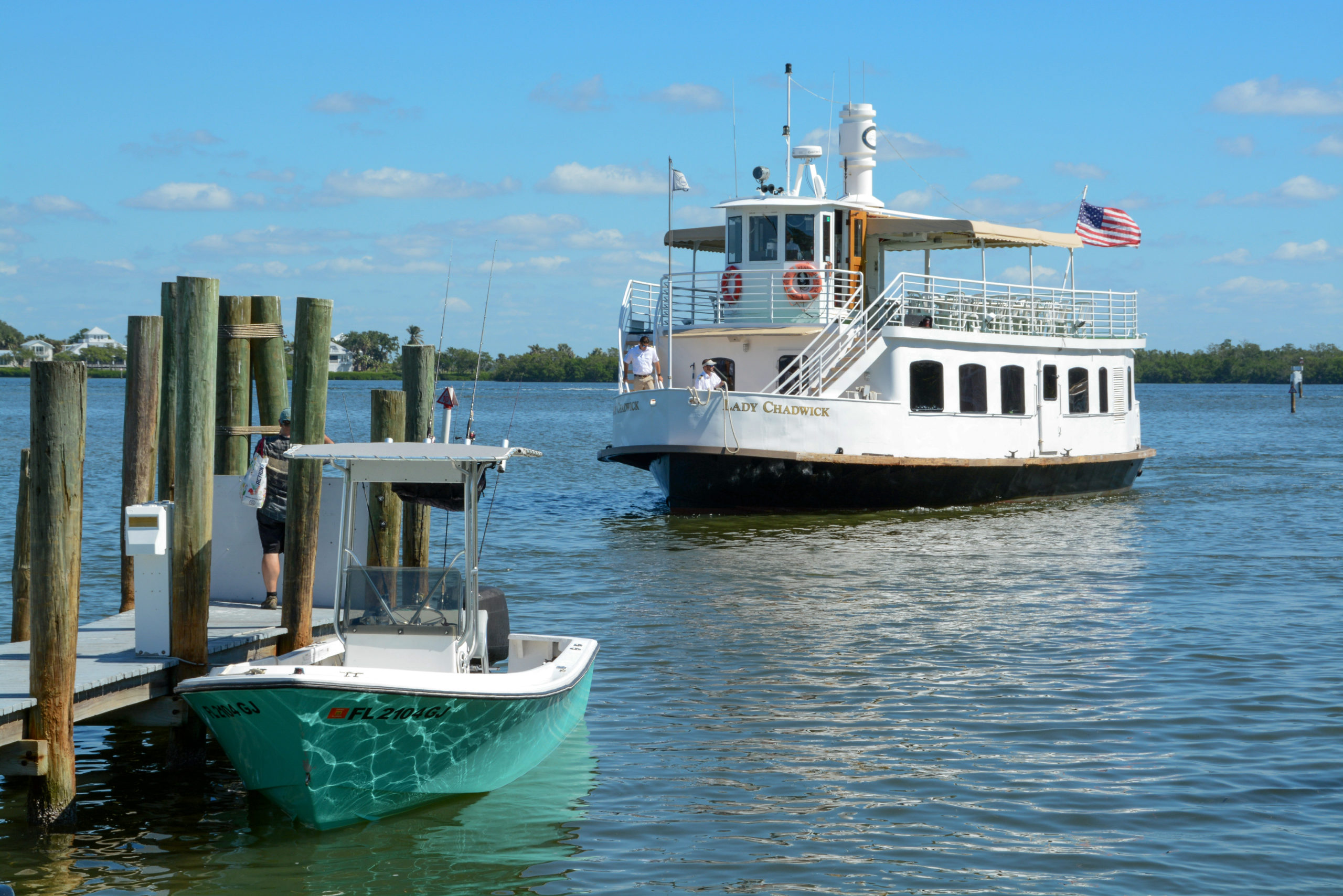 Die Lady Chadwick von Captiva Cruises legt an
