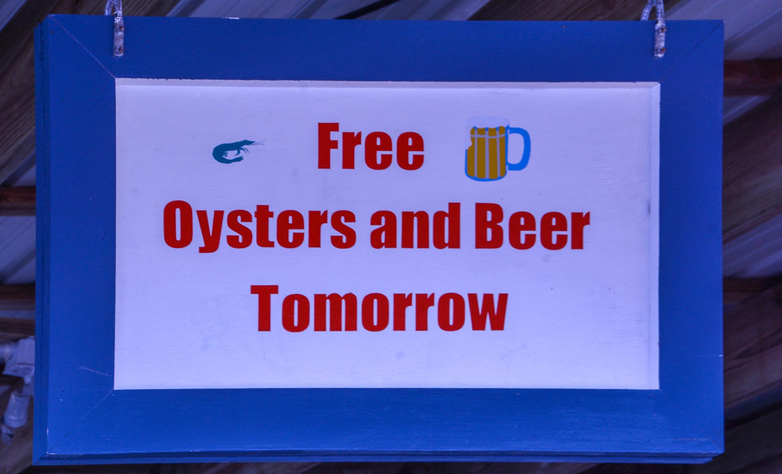 Kostenloses Bier und gratis Austern in Apalachicola