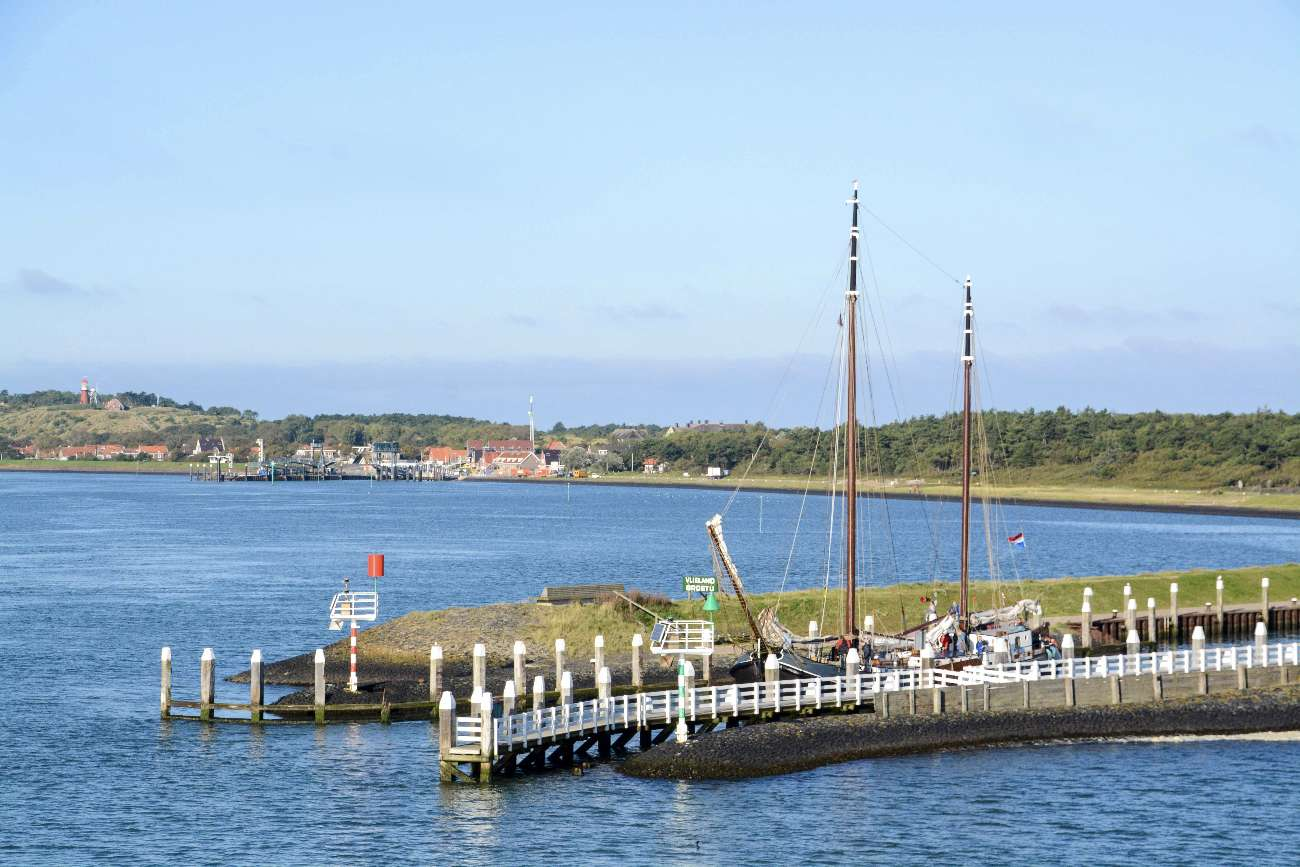 Der Hafen von Westvlieland heißt Besucher auf dem Eiland willkommen mit Segelschiff und Robben