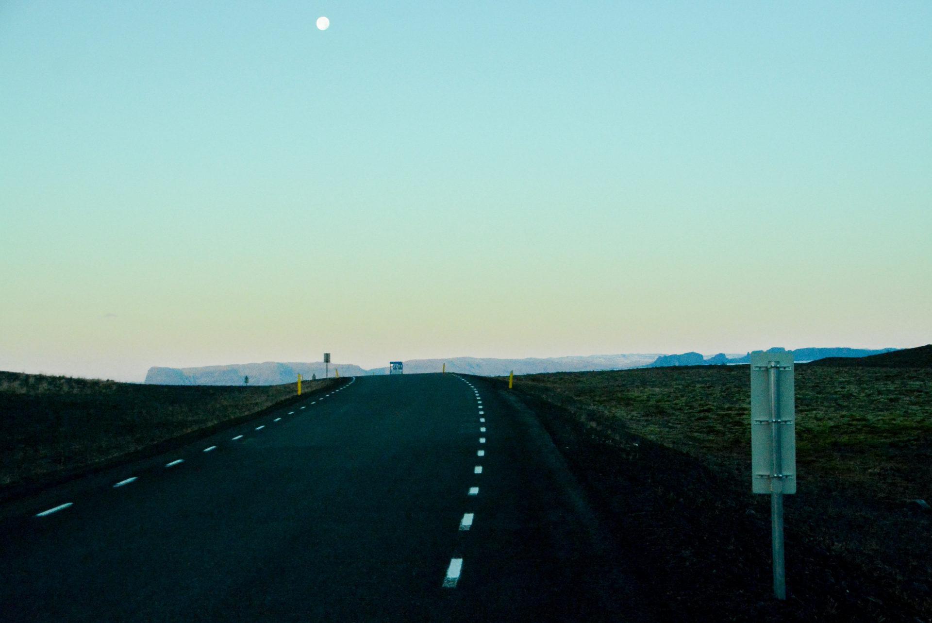 Einsame Straße im Süden von Island