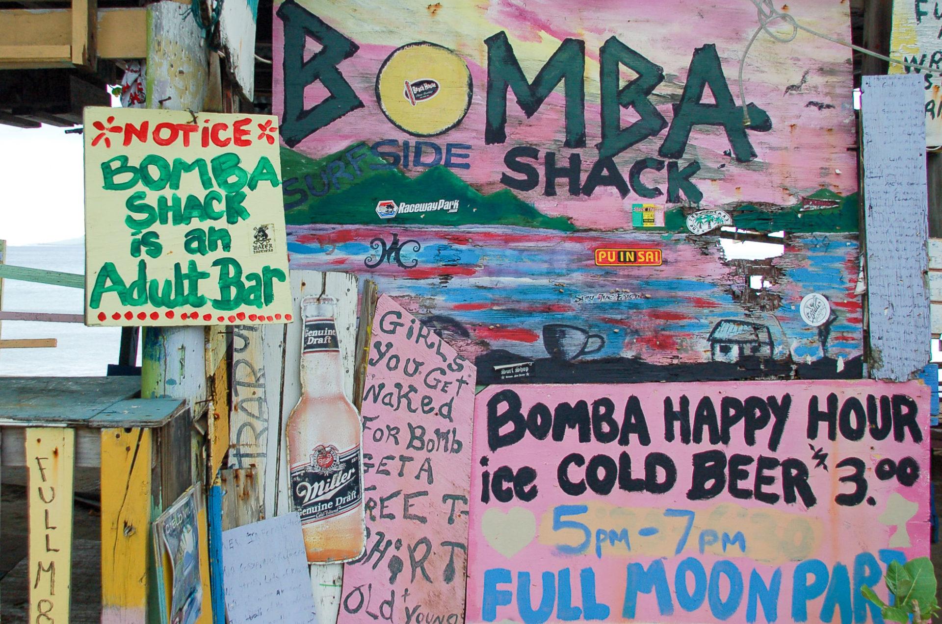Die Bar Bomba Shack nach der Einreise auf die British Virgin Islands