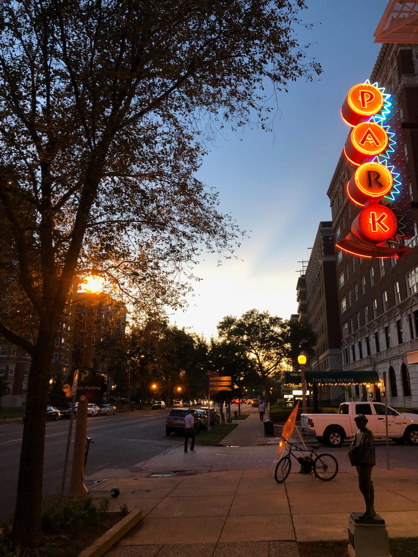 Abendstimmung in Central Park West in Saint Louis