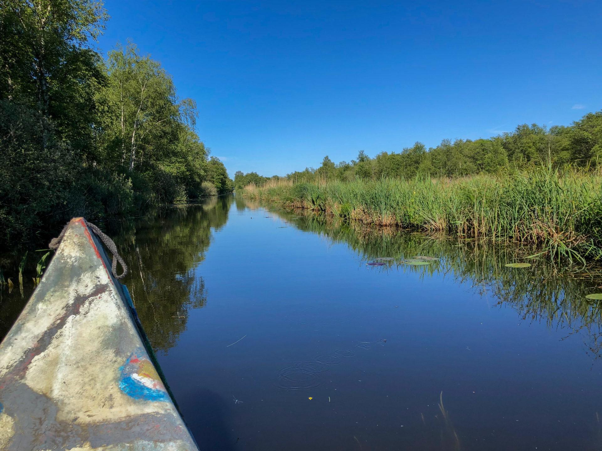 Kanutour durch den Nationalpark Weerribben-Wieden in der Provinz Overijssel in den Niederlanden