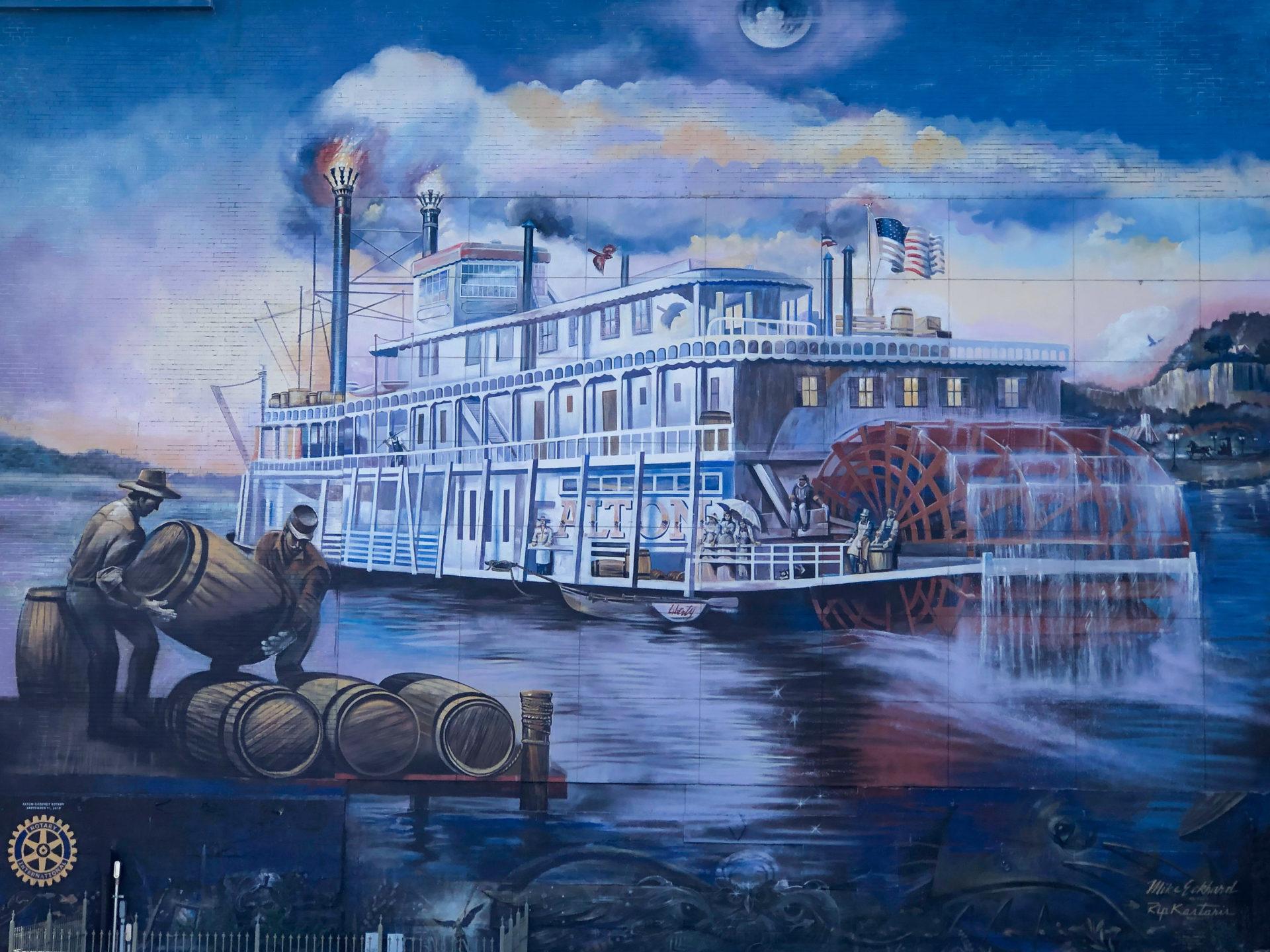 Wandgemälde oder Mural von Schaufelraddamofer in Alton am Mississippi