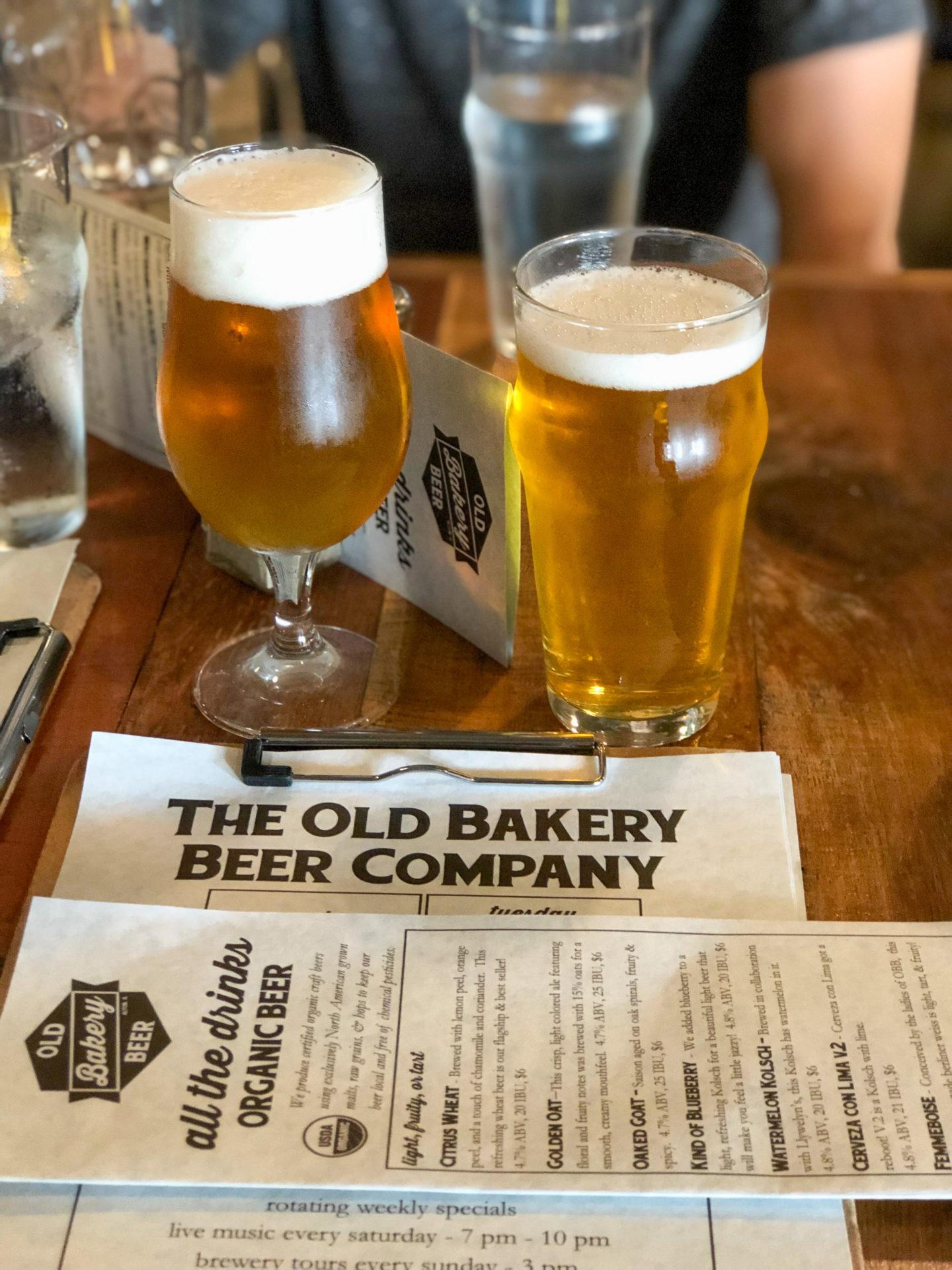 Biere und Speisekarte der Old Bakey Beer Factory in Alton