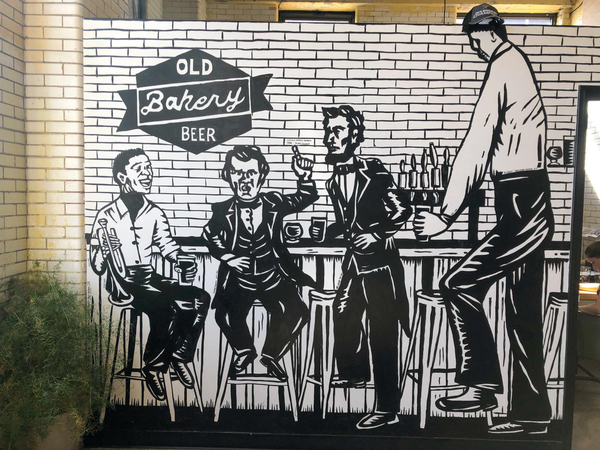 Wandgemälde der Old Bakey Beer Factory in Alton an der Route 66 in Illinois