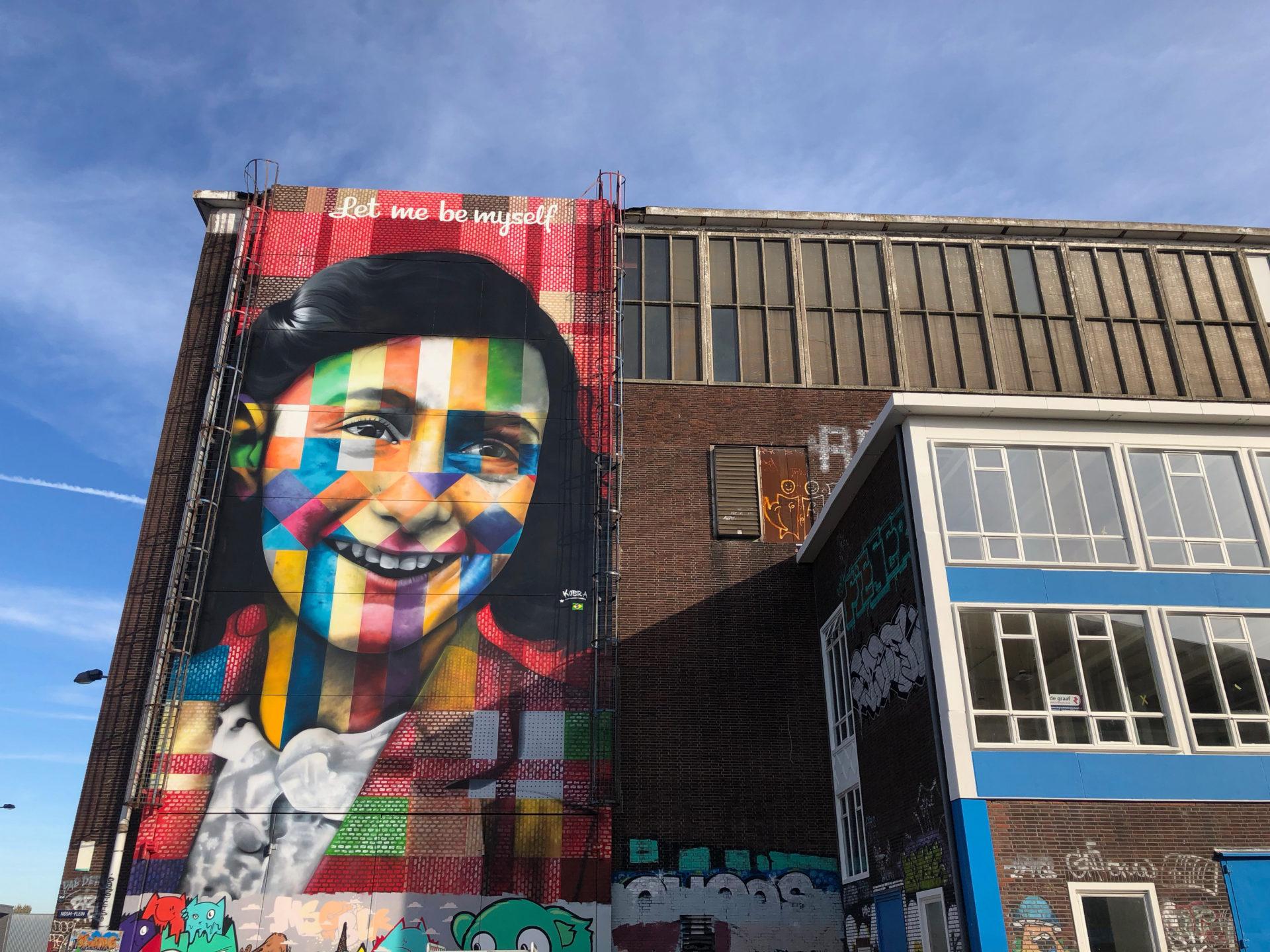 Anne Frank aus der Sicht von Eduardo Kobra in Amsterdam Noord