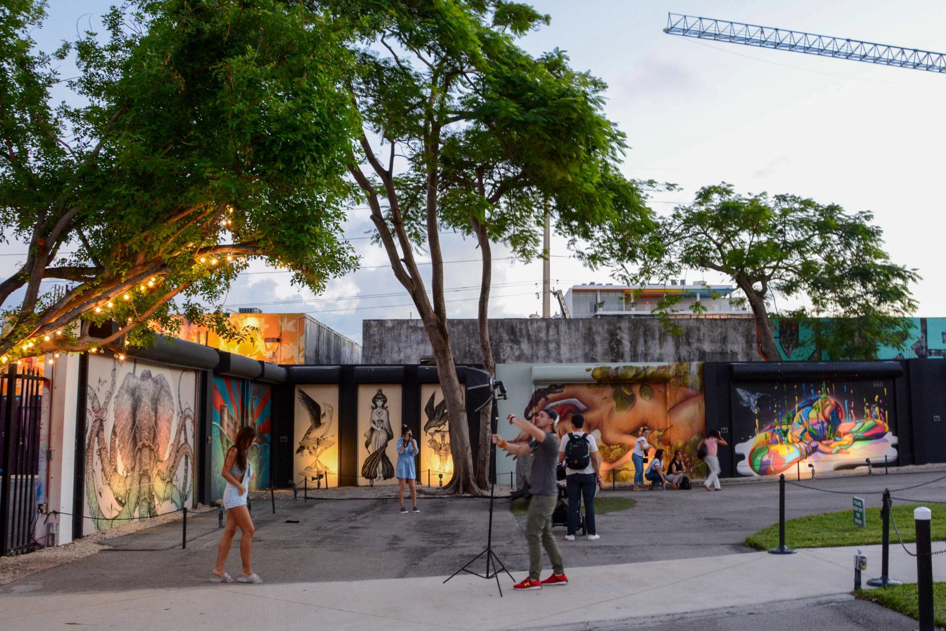 Model-Shooting in Wynwwod, Miami, mit Mural von Elefant mit Oktopusarmen