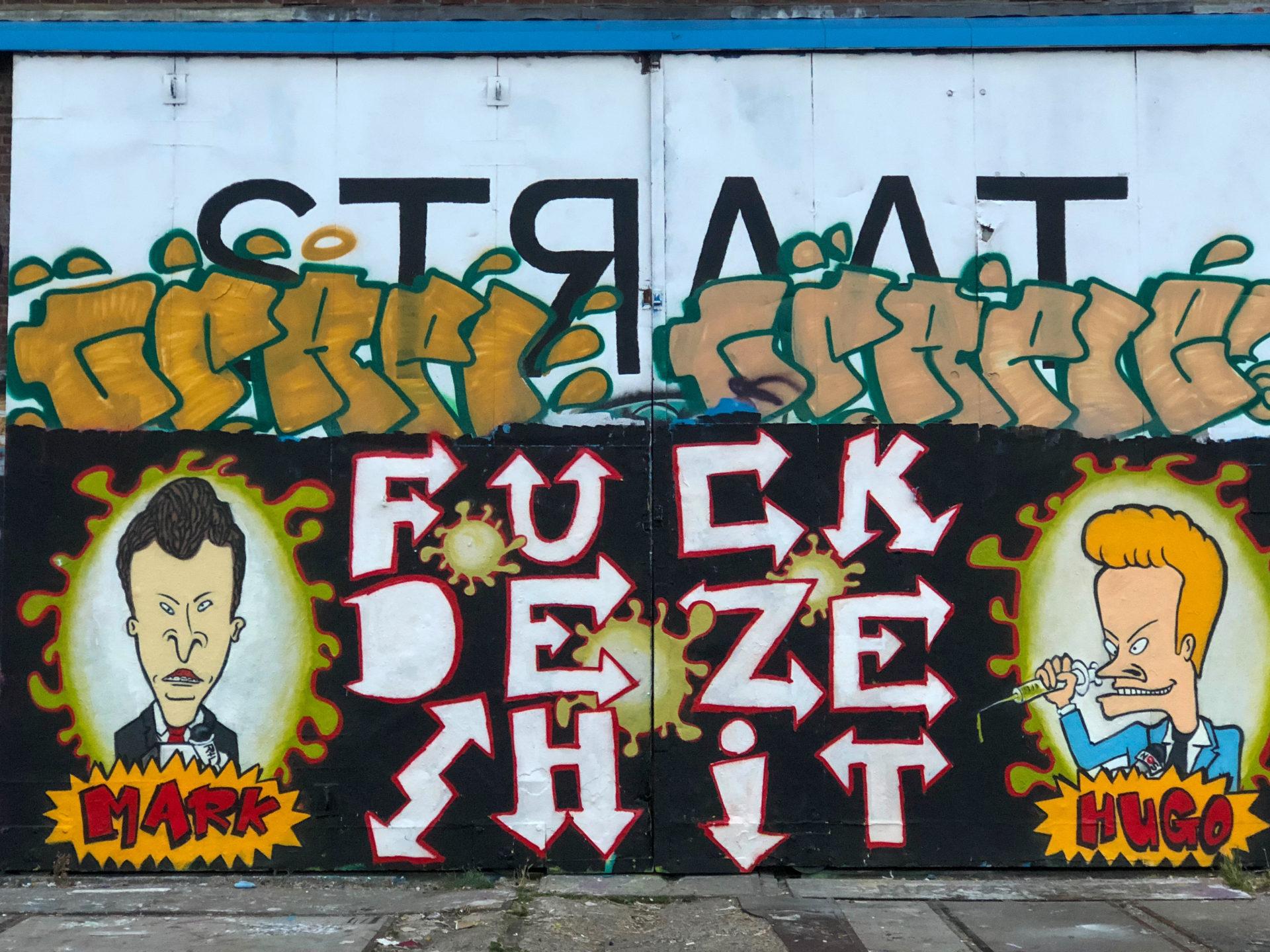 Street Art mit Beavis and Butthead als Mark Rutte und Hugo de Jonge im coolsten Viertel von Amsterdam