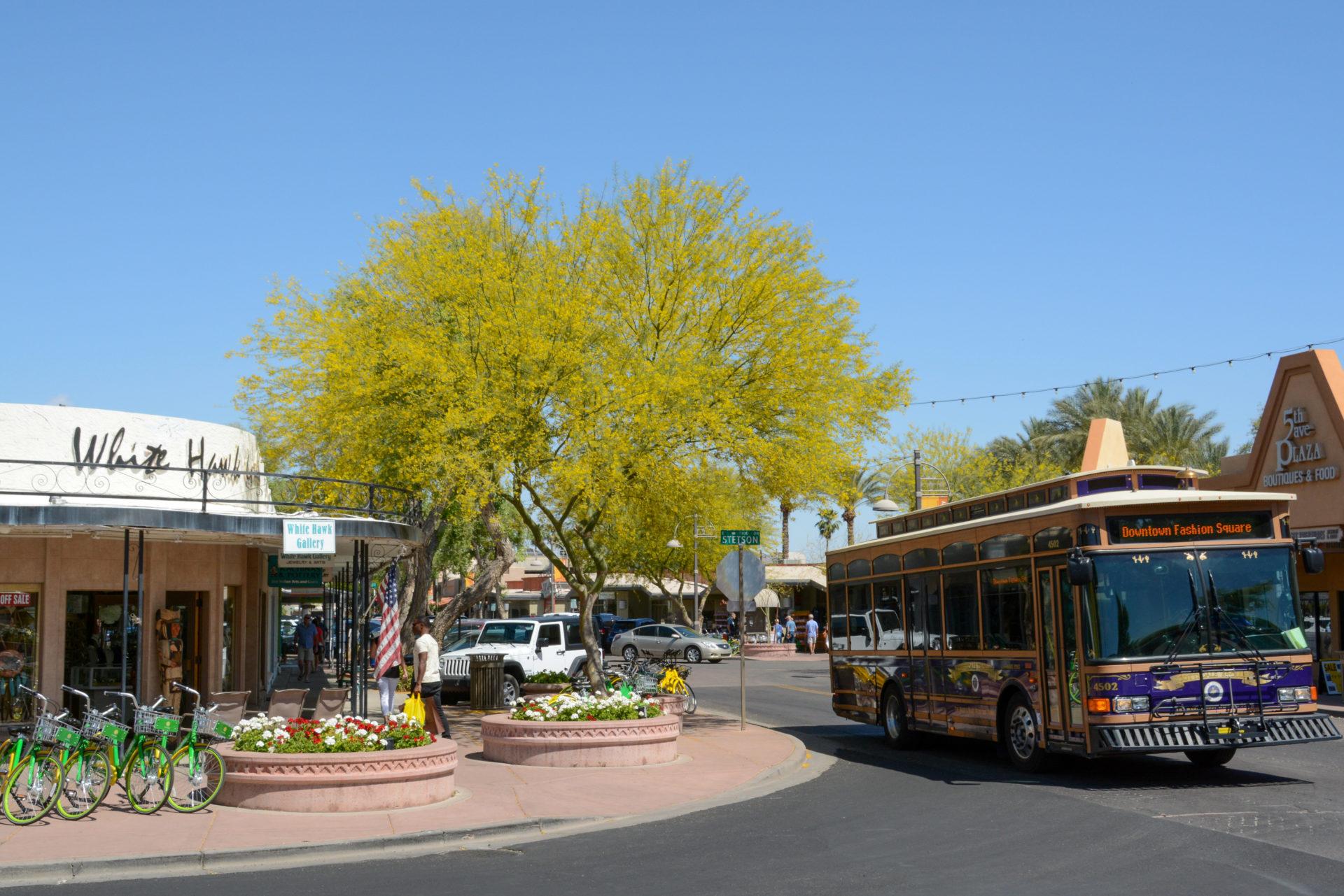 Zuerst mit dem Trolleybus in Downtown, danach mit dem City Bike durch die glamouröse Wüstenstadt Scottsdale
