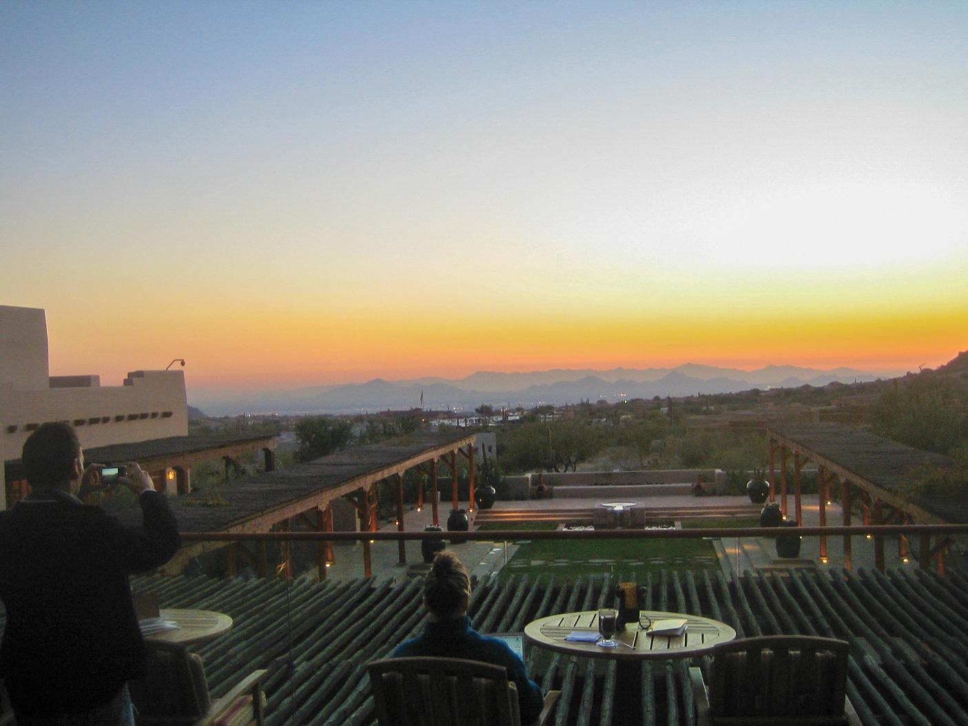 Sonnenuntergang im Hotel Troon North in Scottsdale in Arizona ist kurzum sensationell