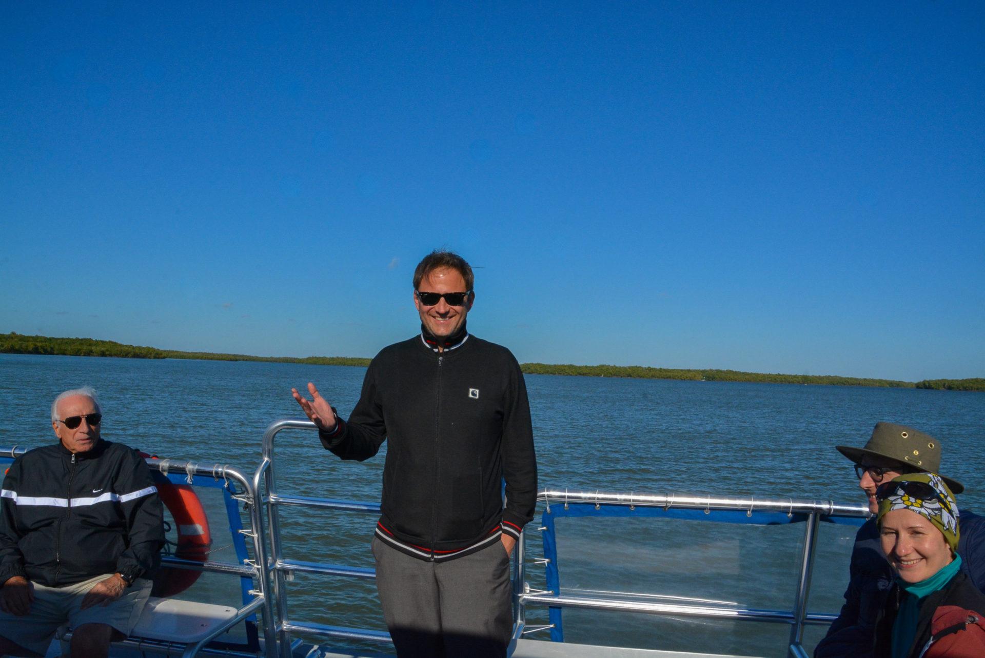 Autor Ralf Johnen auf einem Boot in den Ten thousand islands in Florida