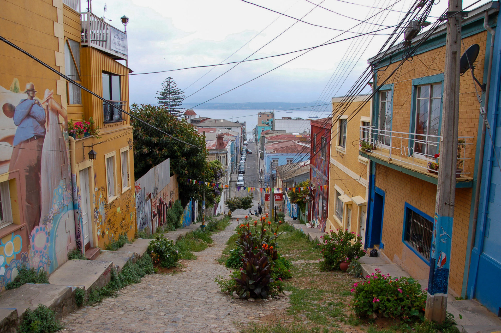 Steiler Hügel mit Kopfsteinpflaster und Blumen in Valparaiso