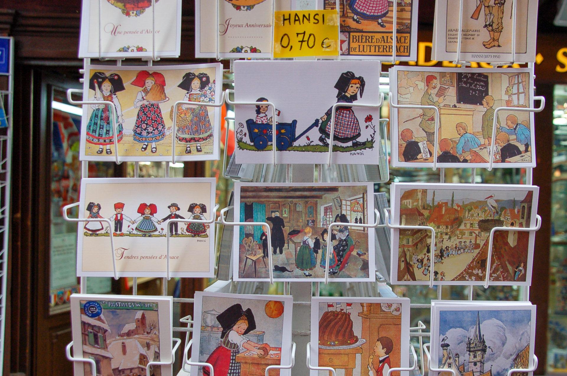 Postkarten mit Motiven von Hansi in Colmar im Elsass