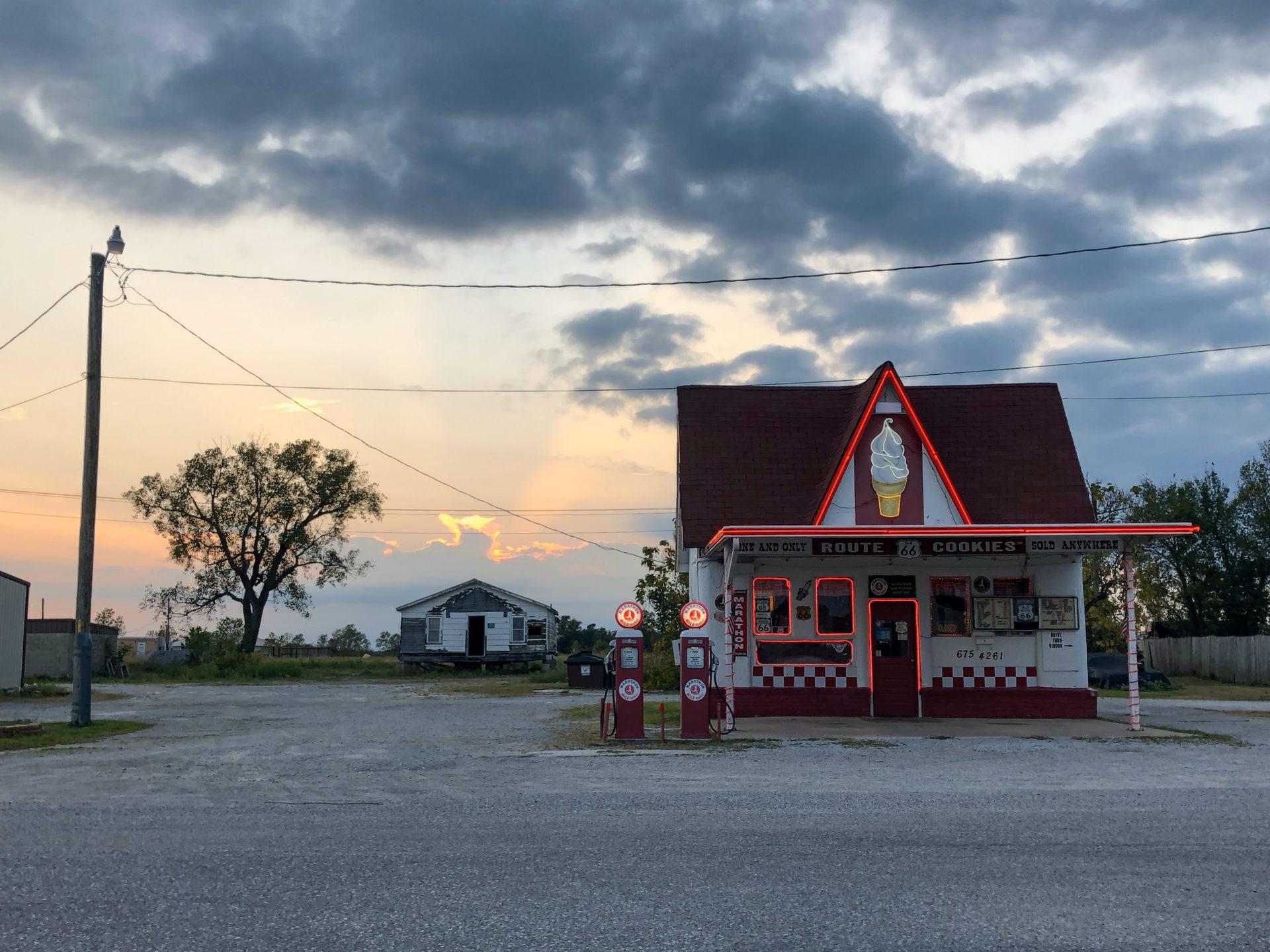 Marathon-Tankstelle an der Route 66 in Commerce, Oklahoma.