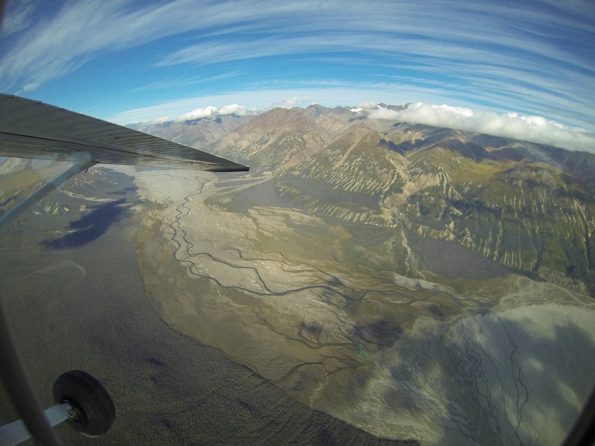 Wasseradern im Yukon aus der Luft betrachtet