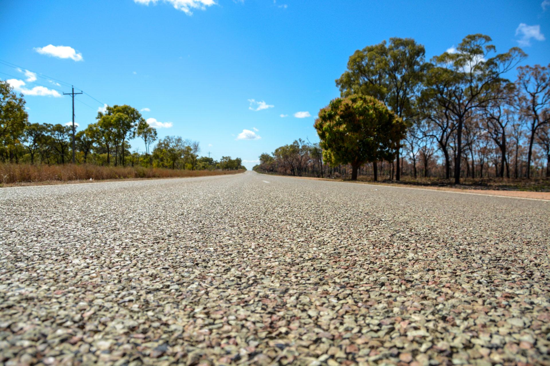 Einsame Straße durch Queensland mit Mangobaum