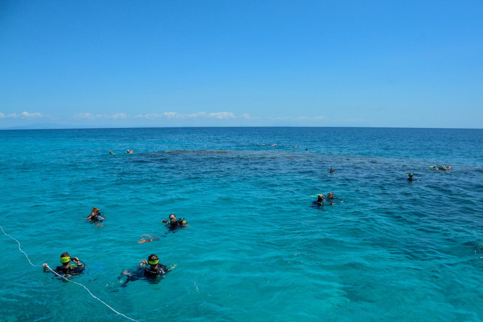 Schnorchler am Eddy Reef in Queensland, Great Barrier Reef