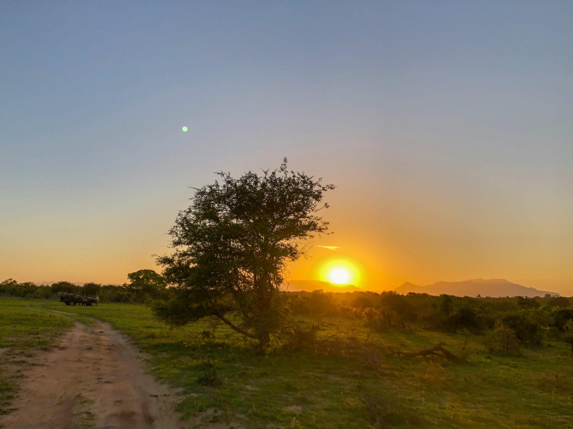 Sonnenuntergang über dem Greater Krueger Nationalpark